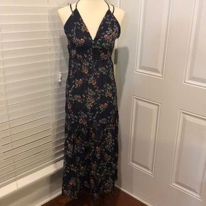 Midi floral dress with cross cross strap back